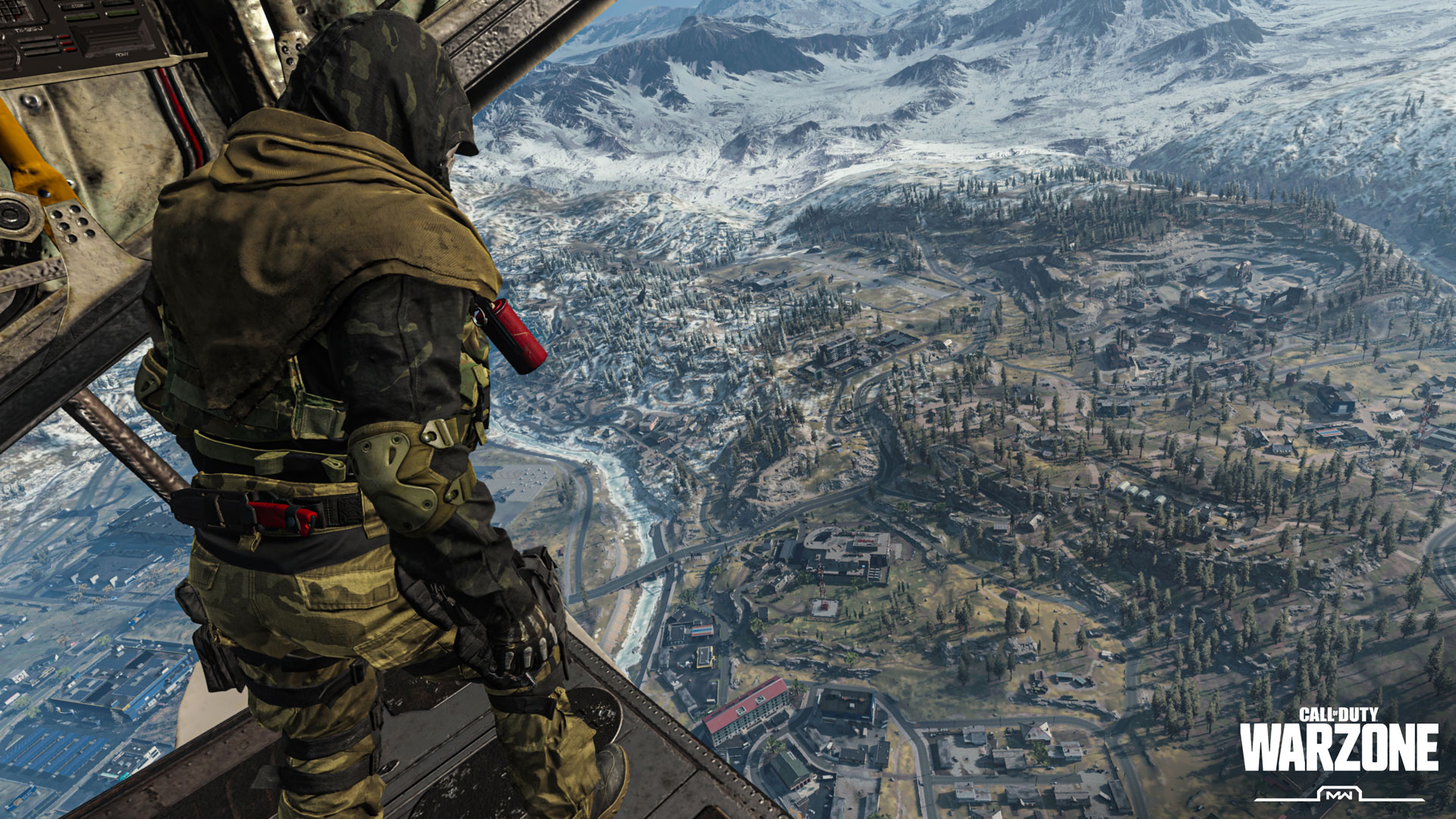 A screenshot of Call of Duty Warzone. A soldier dropping from a helicopter onto a vast landscape.
