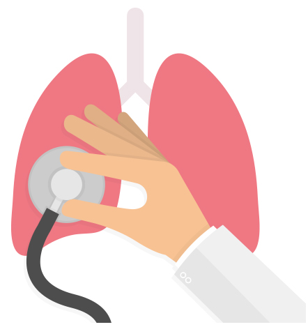 An illustration of a doctor examining lungs.