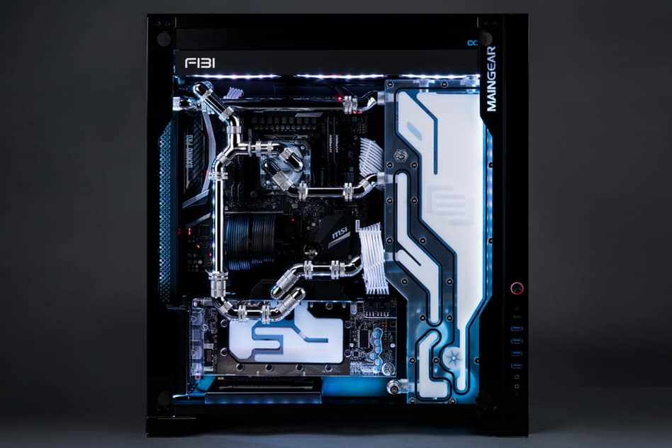 A Maingear F131 with white coolant.